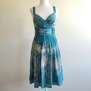 Anthropologie Lil Silk Bow Tie Blue/Blush Dress